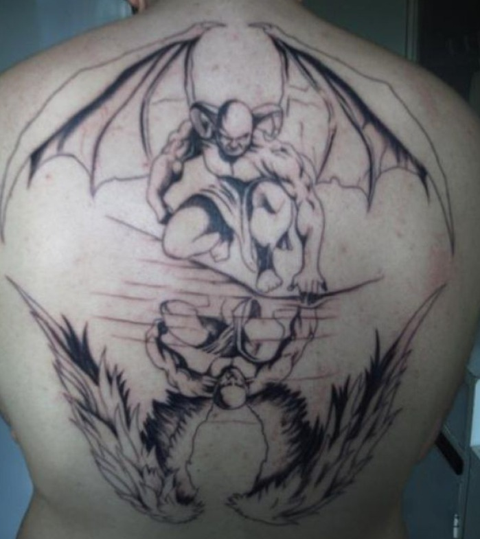 Grey Ink Evil Having Wings Reflection In Water Tattoo On Upper Back