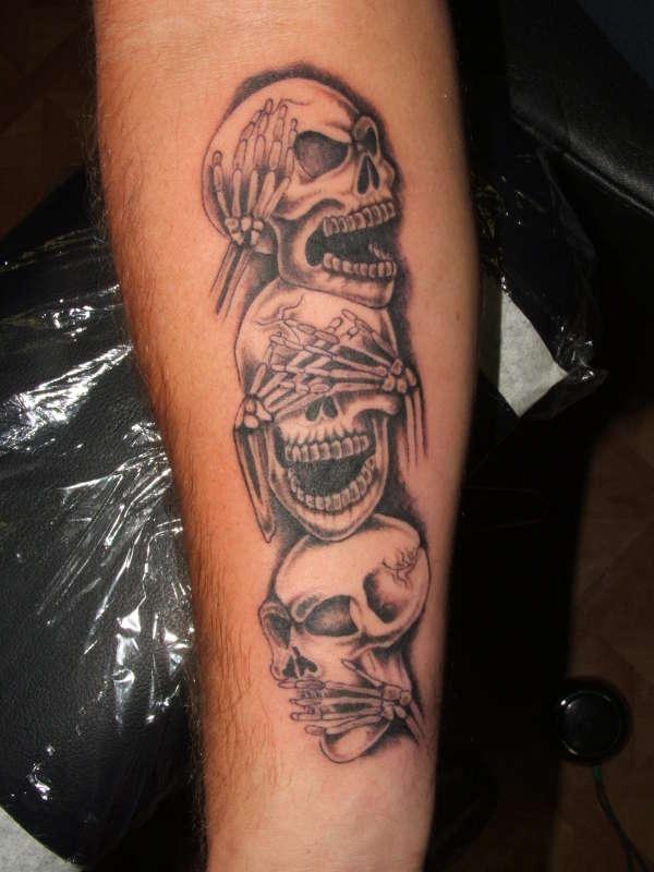 Grey Ink Speak Hear See No Evil Tattoo