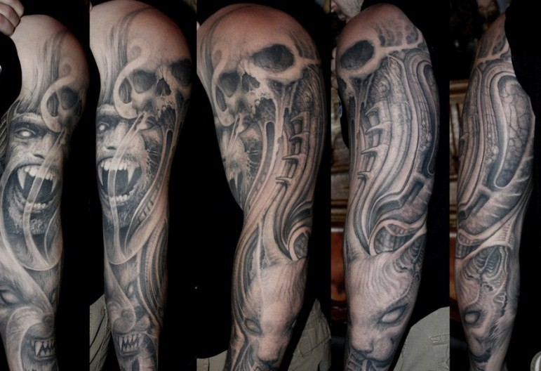 grey inked evil demon and skull tattoo on full sleeve by