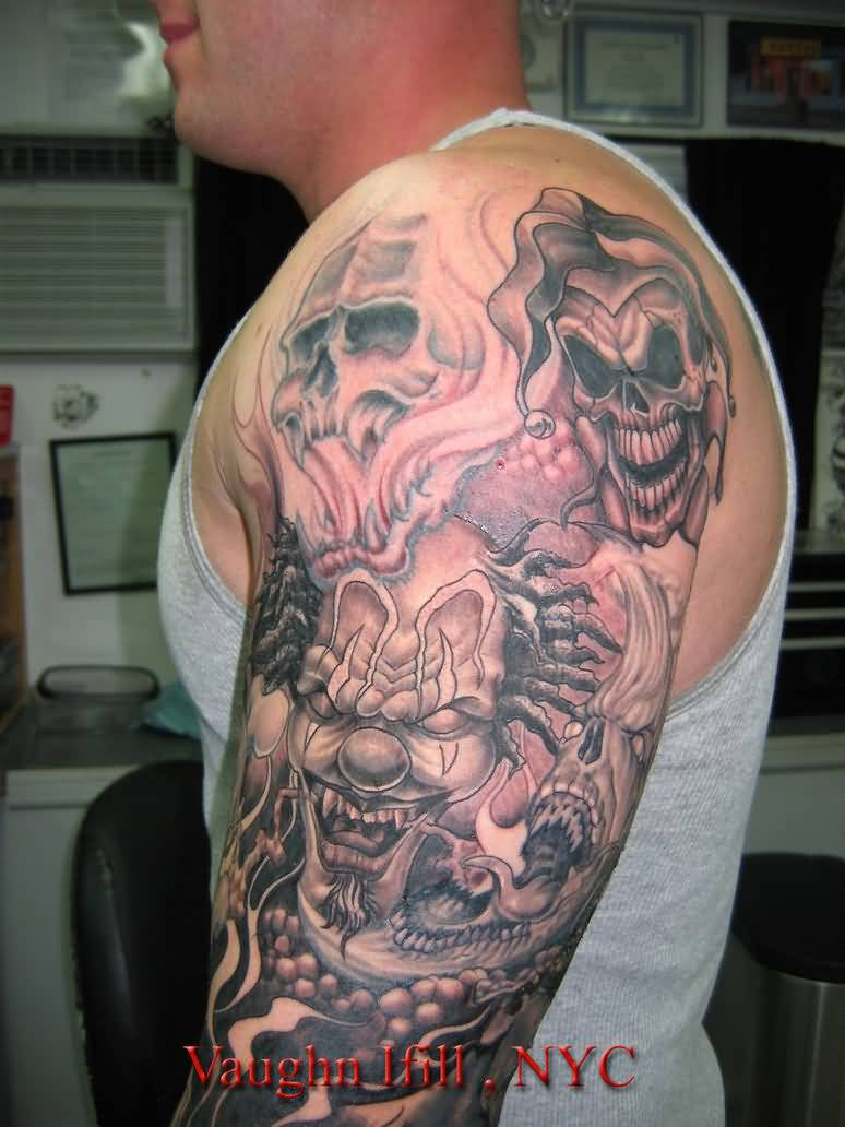 grey inked full arm evil skulls and joker tattoo on left half sleeve. Black Bedroom Furniture Sets. Home Design Ideas
