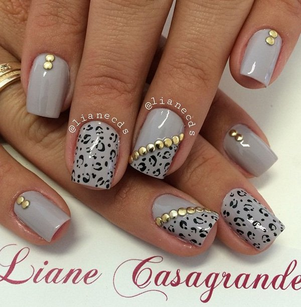 Grey Leopard Print Winter Nail Art With Gold Caviar Beads Design Idea