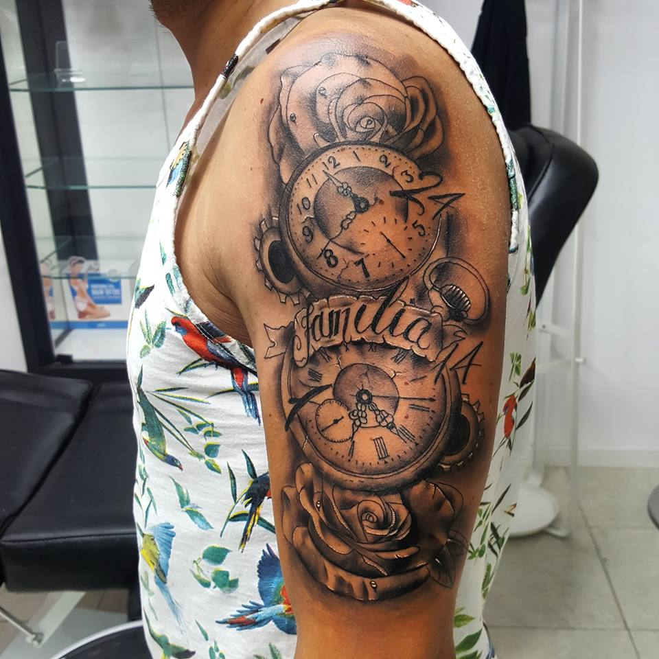 6b9bd14be Grey Roses And Clock Tattoos On Left Half Sleeve by David Torres