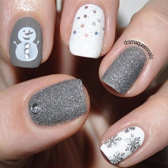 Grey Sparkle And Snowman Winter Nail Art
