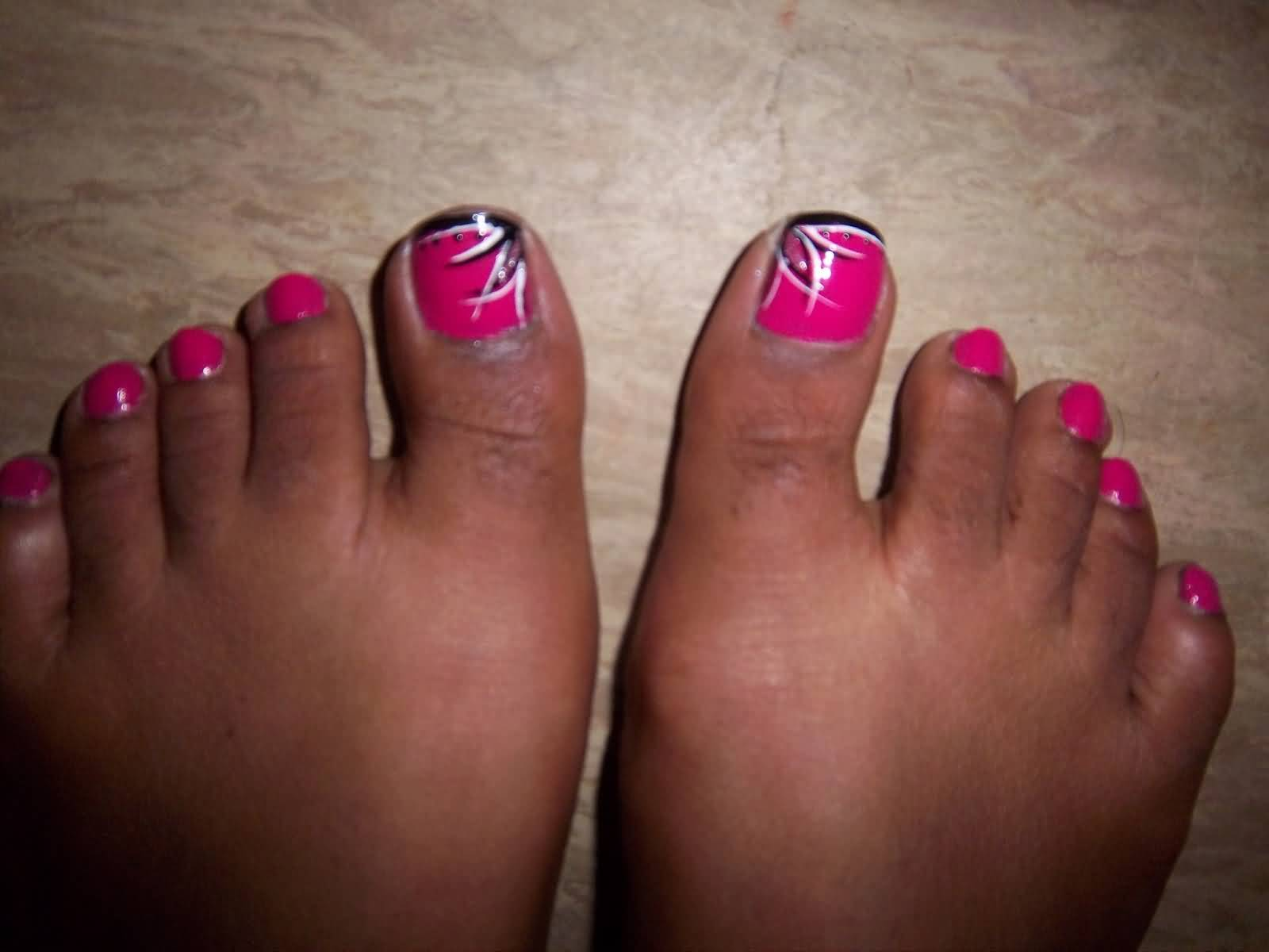Black nail designs for toes best nails 2018 40 pink toe nail art design ideas prinsesfo Image collections