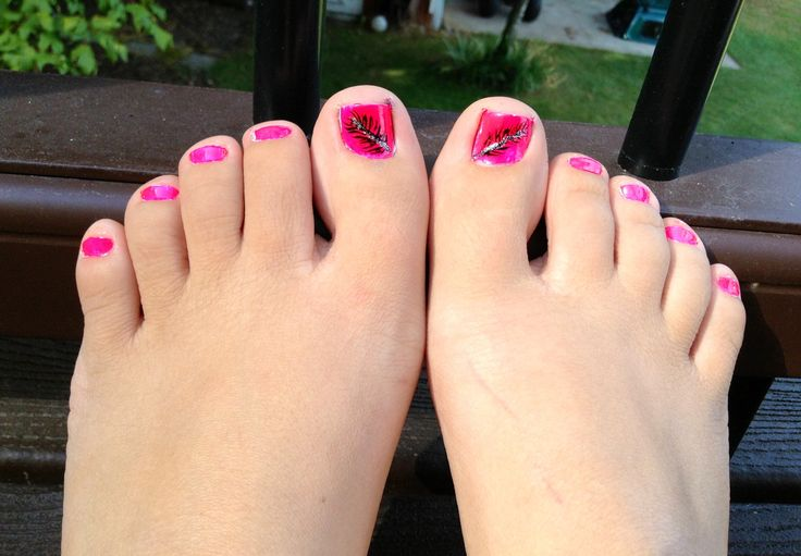 Hot Pink Toe Nails With Feather Design
