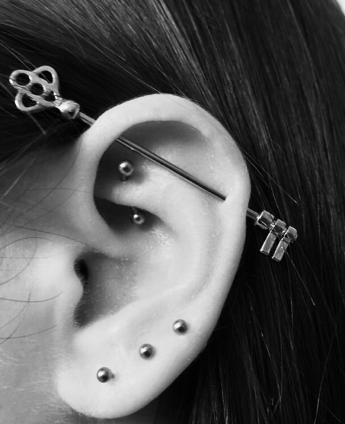 industrial piercing with trident barbell. Black Bedroom Furniture Sets. Home Design Ideas