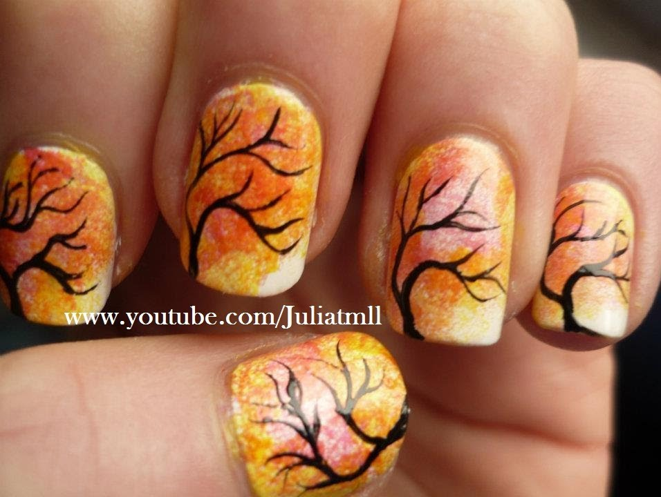 Japanese Tree Autumn Nail Art Design