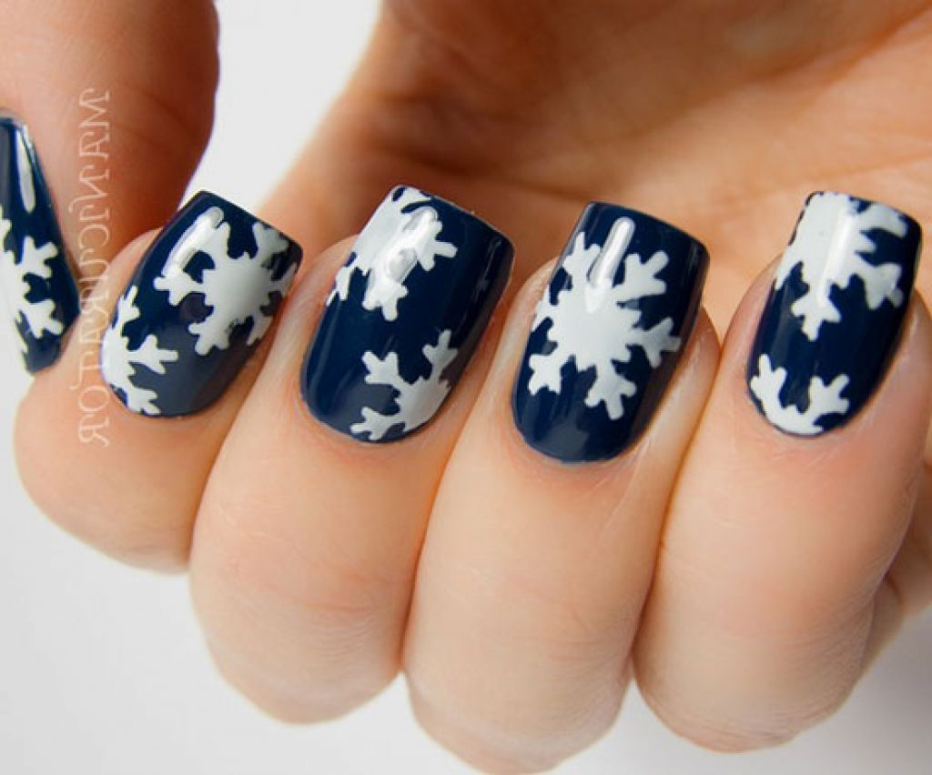 Navy Blue Glossy Nails With White Snowflakes Design Winter Nail Art