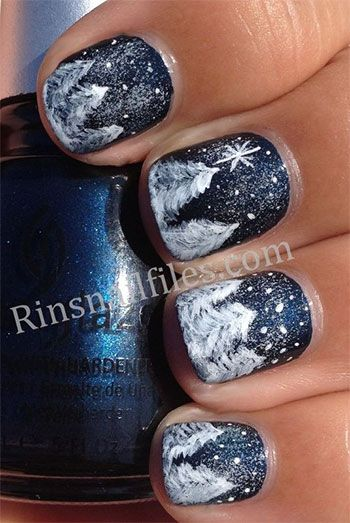 Navy Blue Nails With Snow Covered Winter Nail Art