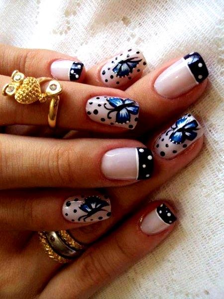 Navy Blue Polka Dots Tip With Butterfly Winter Nail Art
