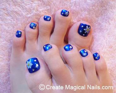 60 most beautiful toe nail art design ideas navy blue toe nails with stars design toe nail art prinsesfo Choice Image