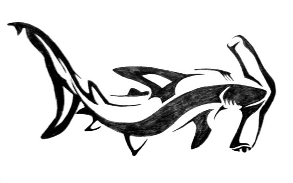nice tribal hammerhead shark tattoo design by aingealdorcha