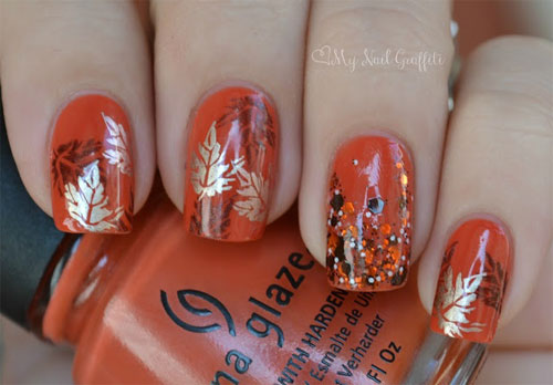 50 most beautiful autumn nail art designs orange base nails with silver autumn flowers nail art prinsesfo Image collections