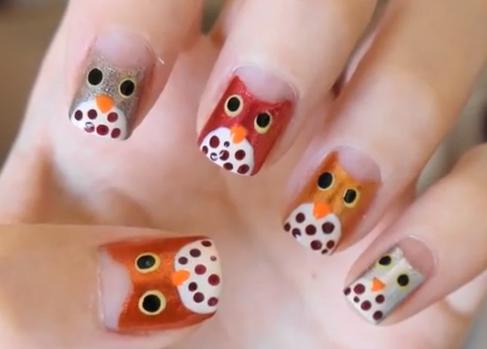 - Owl Face Design Nail Art For Autumn