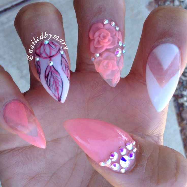 Peach 3d Flowers Nail Art Design idea