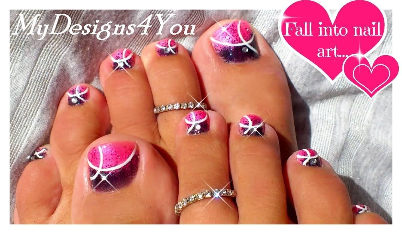 40 pink toe nail art design ideas pink and purple toe nail art prinsesfo Images