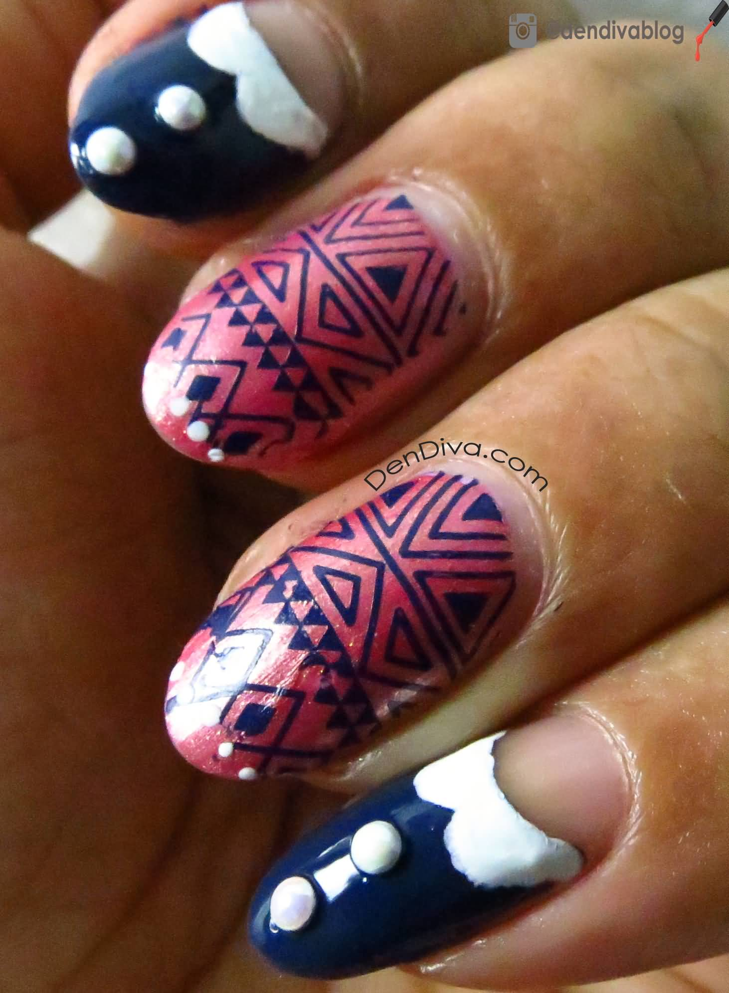 Pink And Purple Tribal Design Winter Nail Art