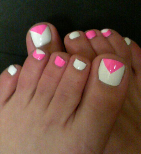 Pink And White Chevron Design Nail Art - 40+ Pink Toe Nail Art Design Ideas