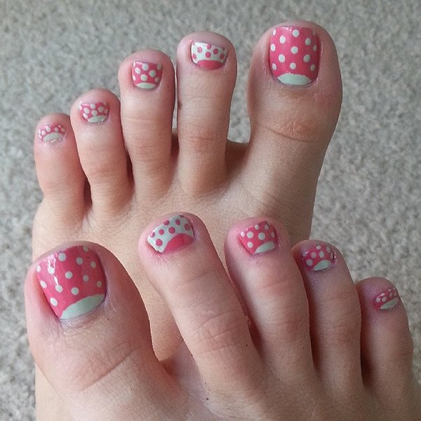 60 most beautiful toe nail art design ideas pink and white dots cute toe nail art prinsesfo Image collections