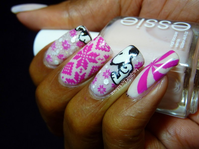 Pink And White Winter Nail Art Design