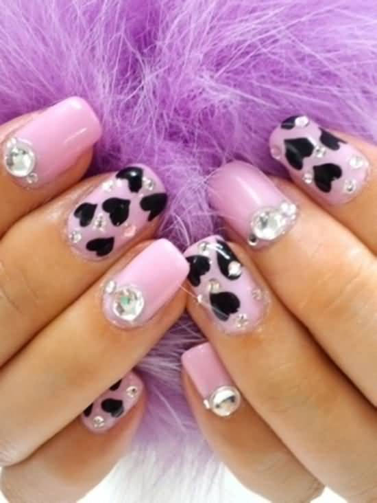 Pink Nails With Black Hearts And 3d Pearls Design Idea