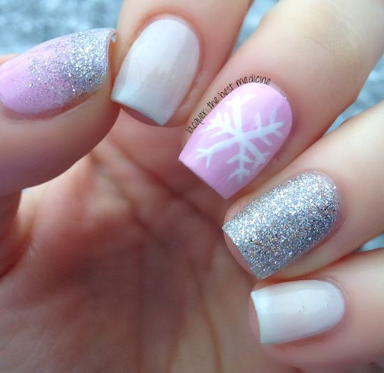 Pink Nails With White Snowflakes And Silver Glitter Design Winter Nail Art