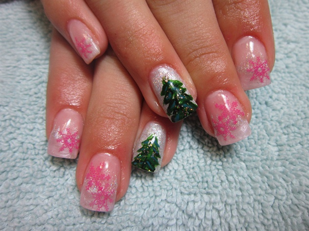 Pink Snowflakes Design With Green Tree Winter Nail Art