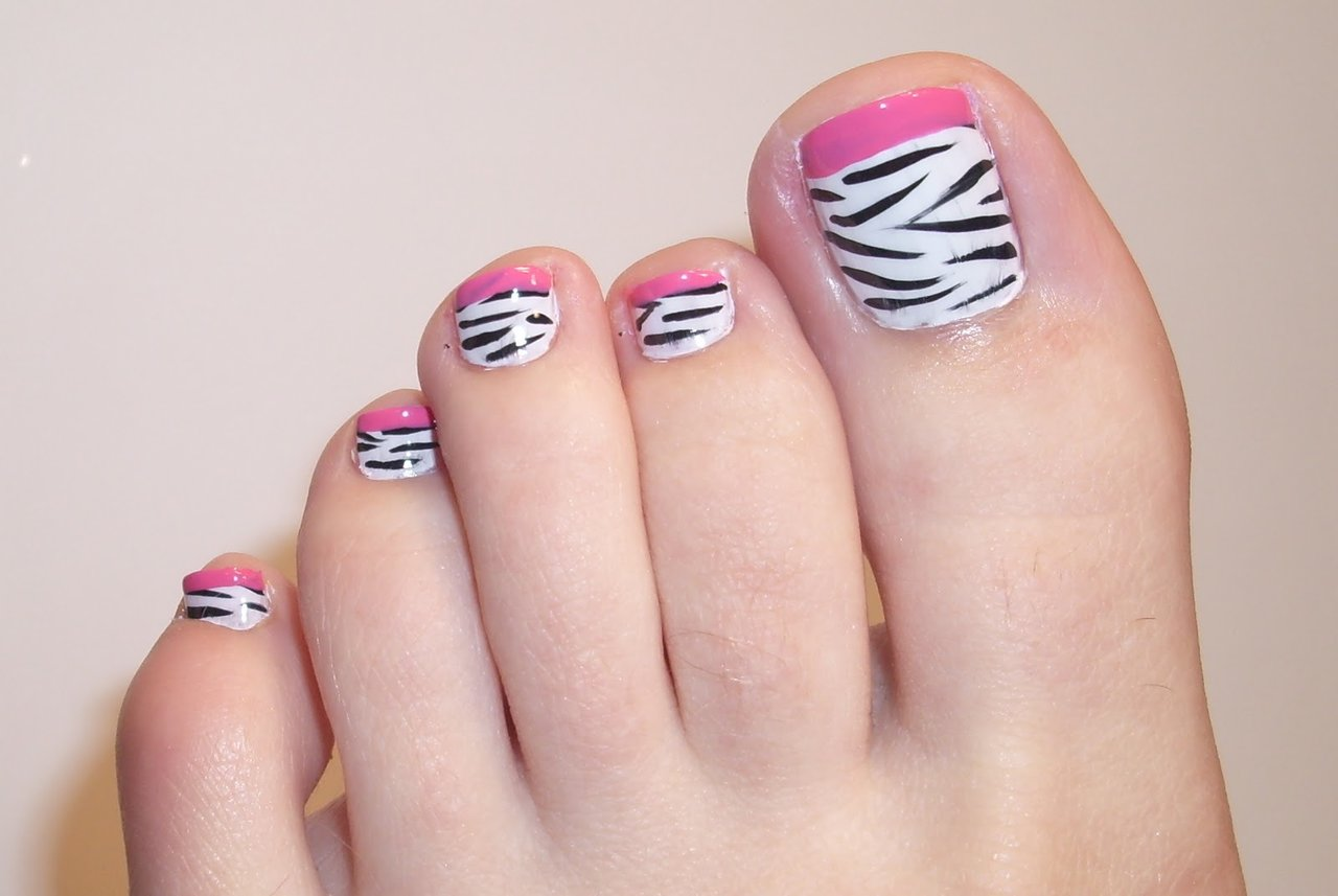 55 latest toe nail art designs pink tip zebra print toe nail art prinsesfo Images