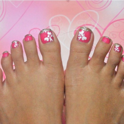 40 pink toe nail art design ideas pink toe nail art white flower design prinsesfo Gallery