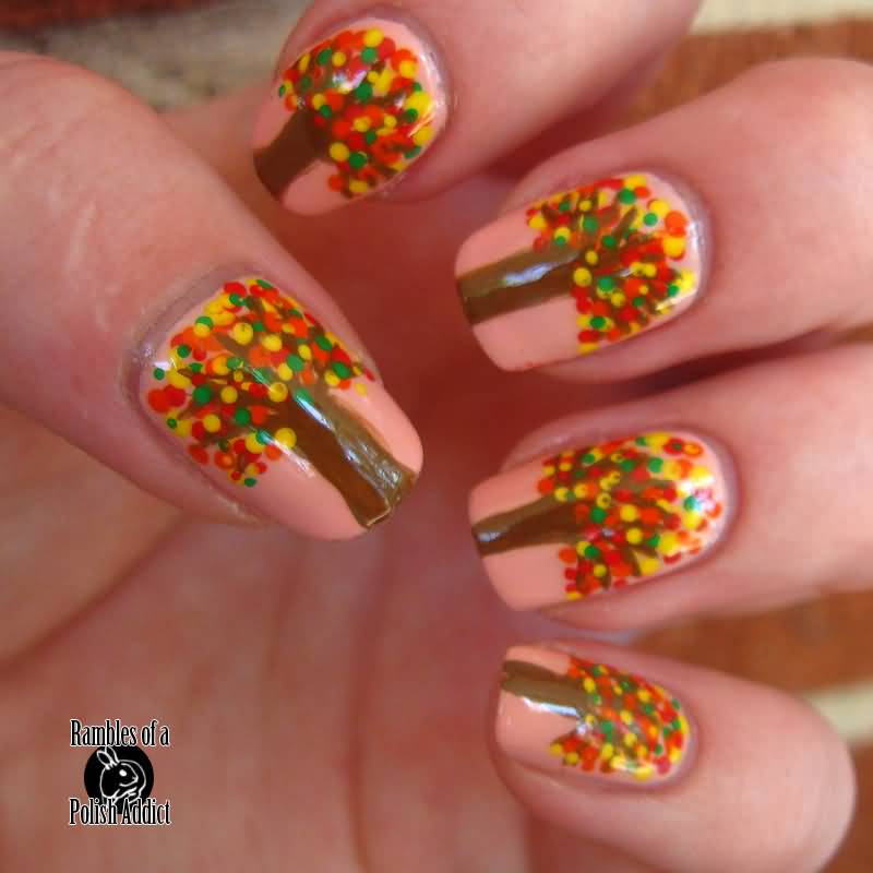 50 best nail art design ideas for autumn polka dots autumn tree nail art prinsesfo Image collections
