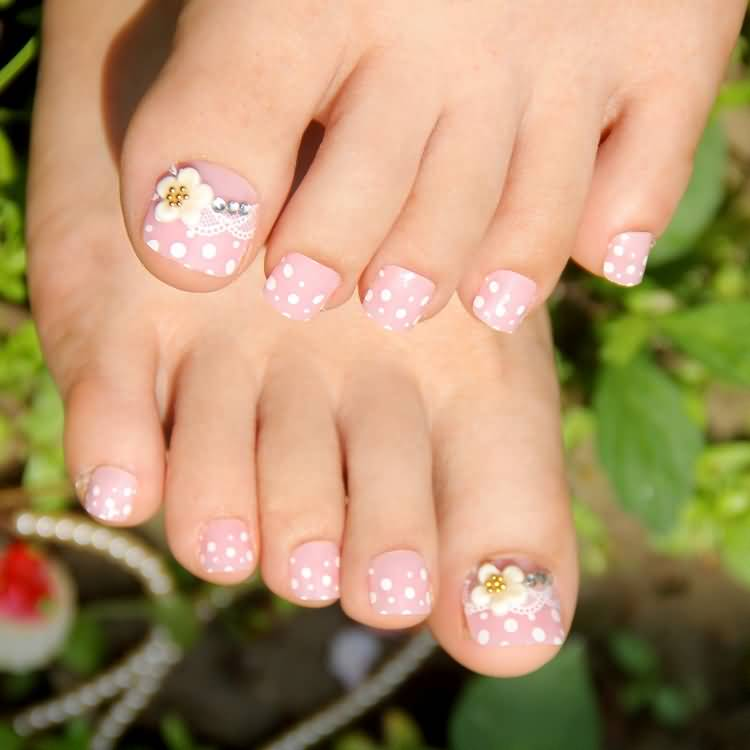 3d toe nail designs images nail art and nail design ideas 45 most adorable toe nail art ideas for trendy girls polka dots toe nail art with prinsesfo Image collections
