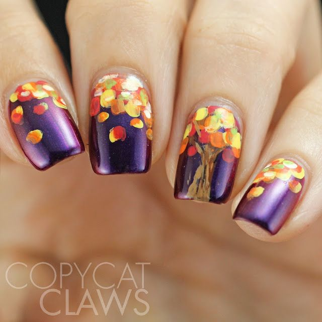 Copycat Claws Blue Color Block Nail Art: 50+ Most Beautiful Autumn Nail Art Designs