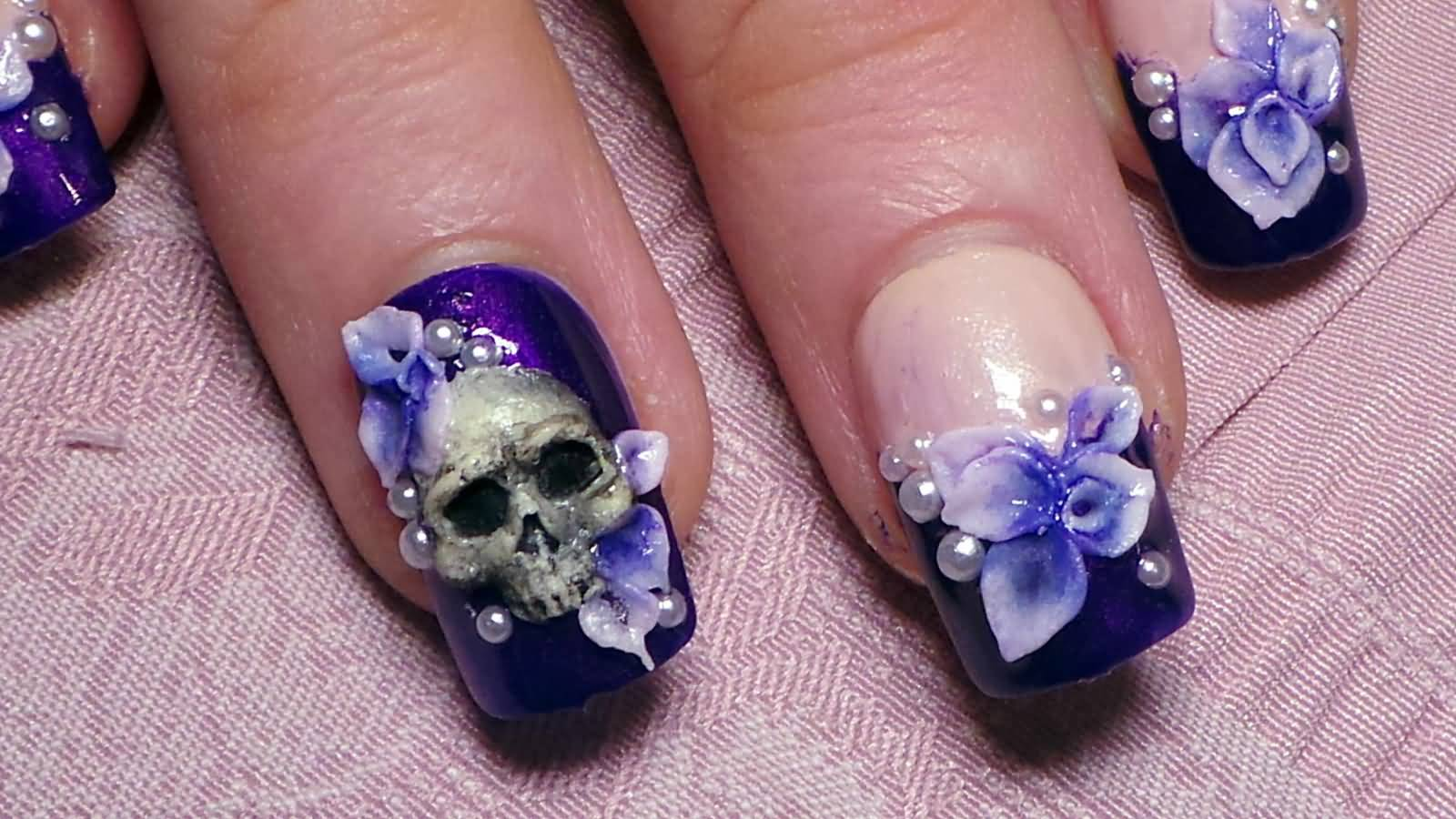 Purple nails with 3d flower and skull design prinsesfo Image collections