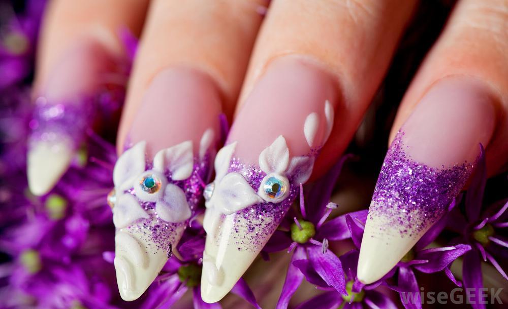 - Purple Sparkle With White 3d Flowers Design Idea