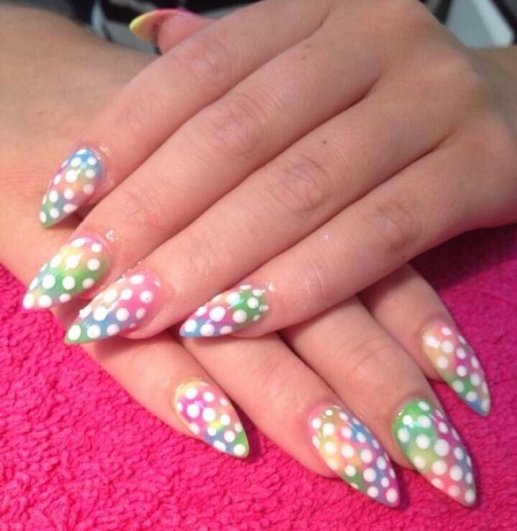 Rainbow Ombre Nails With White Polka Dots Winter Nail Art