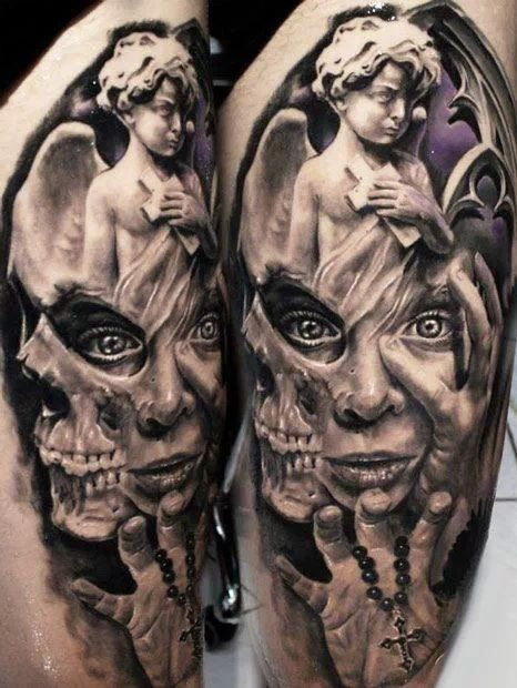 7f8aaa8ce Realistic Angel With Evil Face And Hand Holding Cross Tattoo