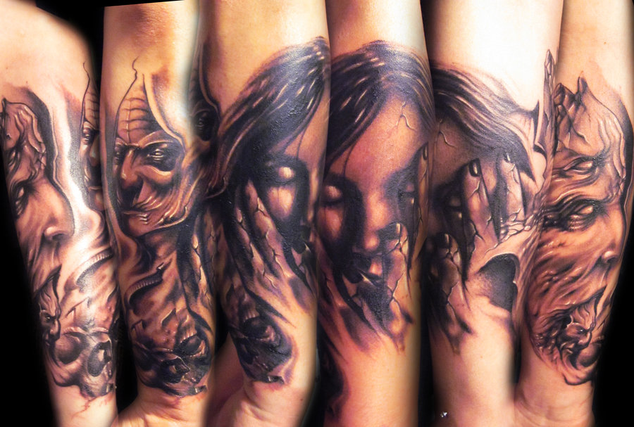 8487d16b20cd2 Realistic Colored Evil Demons And Lady Tattoo By Hatefullss