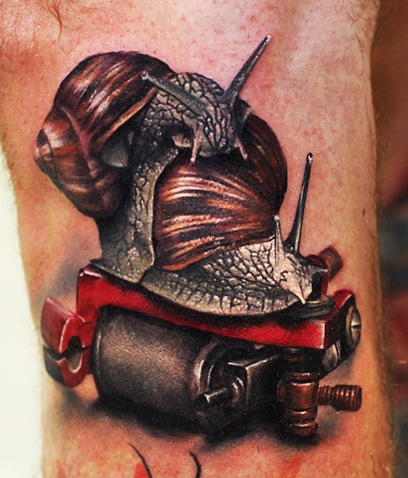 Realistic Snails On Machine Tattoo