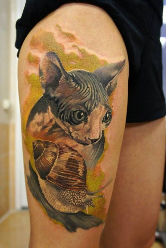 Realistic sphynx cat and snail watercolor tattoo on thigh for Hairless cat tattoo
