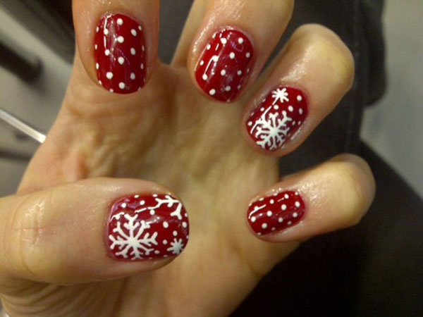 Red And White Dots And Snowflakes Design Winter Nail Art