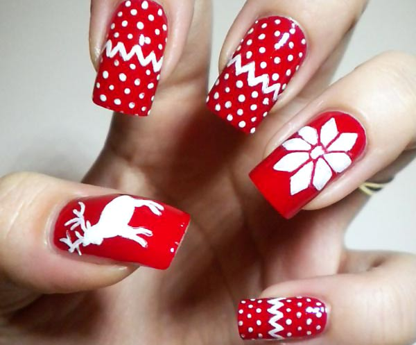 Red And White Reindeer With Flower Winter Nail Art