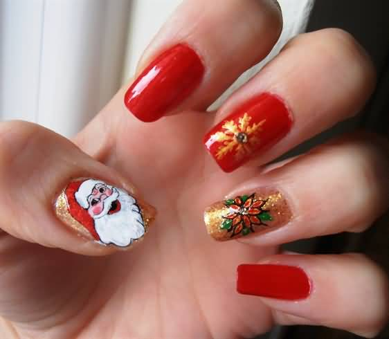 Red Nails With Golden Snowflakes And Santa Claus Winter Nail Art