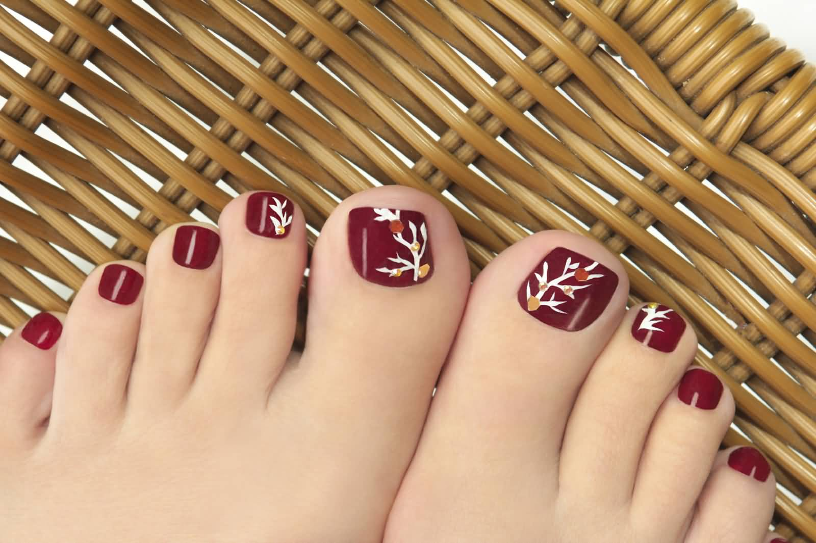 Red Toe Nails With Autumn Tree Design Nail Art