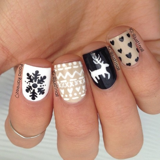 Reindeer And Snowflakes Design Winter Nail Art