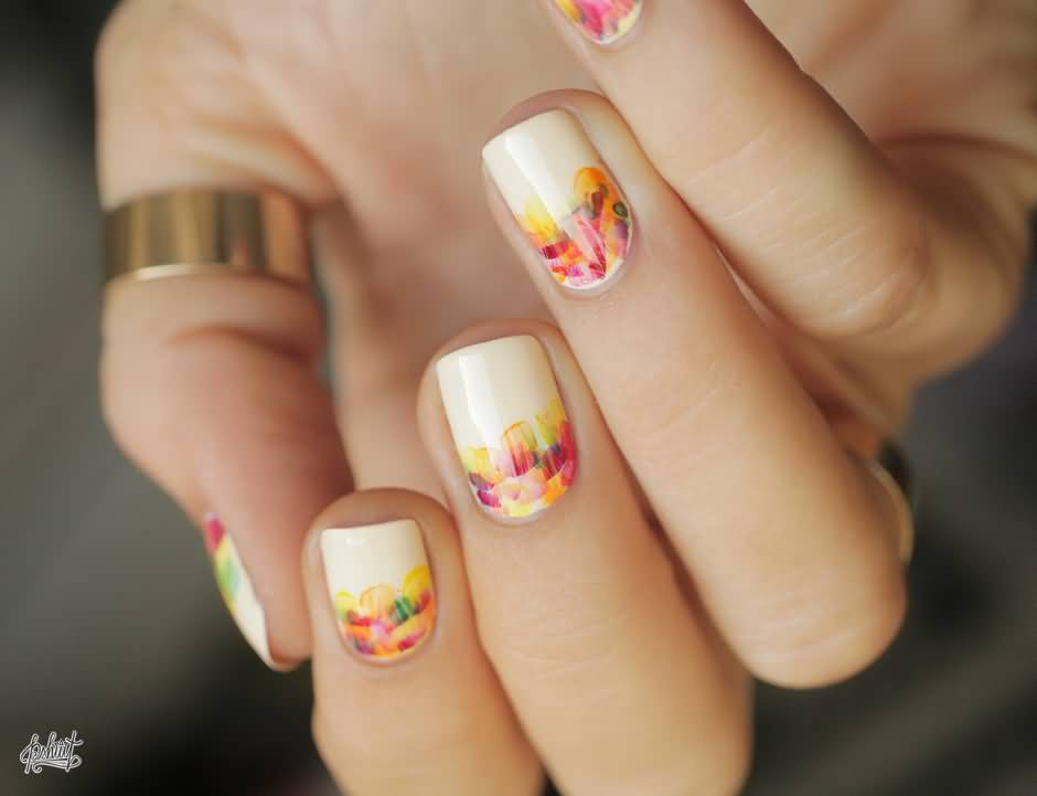 Reverse French Tip Autumn Fall Leaves Nail Art