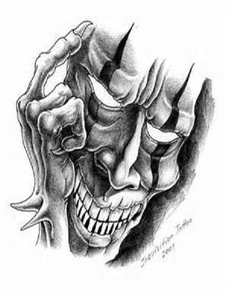 Black And Grey Tattoo Stencil: 30+ Amazing Evil Tattoo Designs