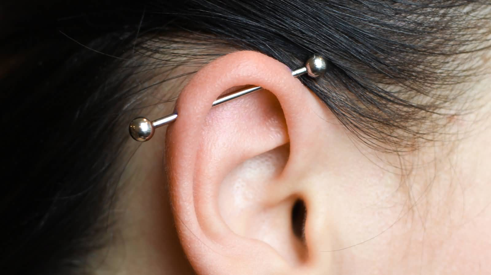 Silver Barbell Industrial Piercing On Right Ear