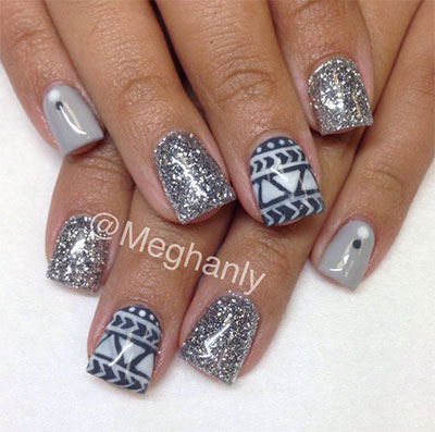Silver Glitter With Blue Design Winter Nail Art