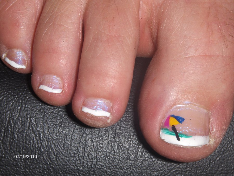 45 most adorable toe nail art ideas for trendy girls simple white tip toe nails with umbrella design prinsesfo Image collections