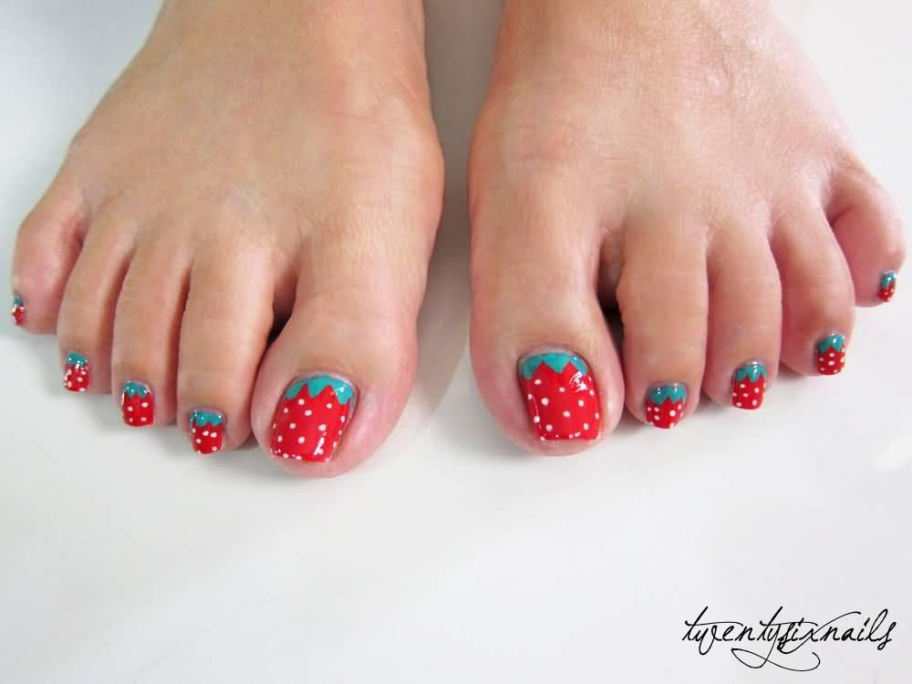 55 latest toe nail art designs strawberry design toe nail art idea prinsesfo Image collections